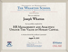 HR Management and Analytics - Program Certificate