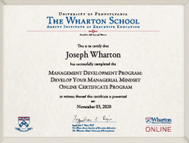 Management Development Program Certificate